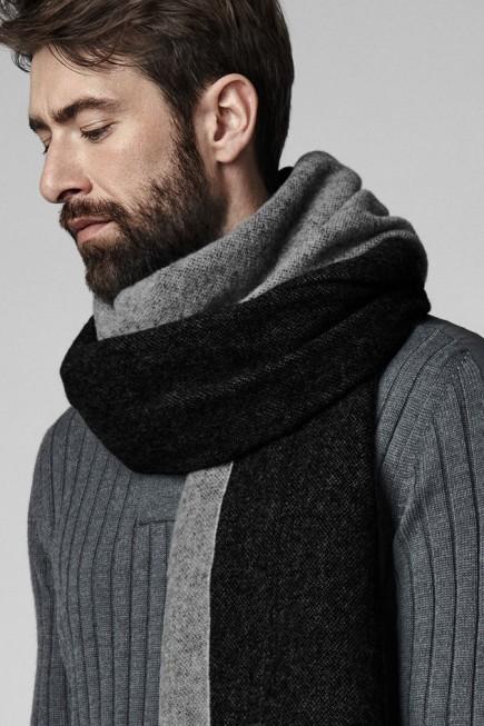男士双色编织围巾