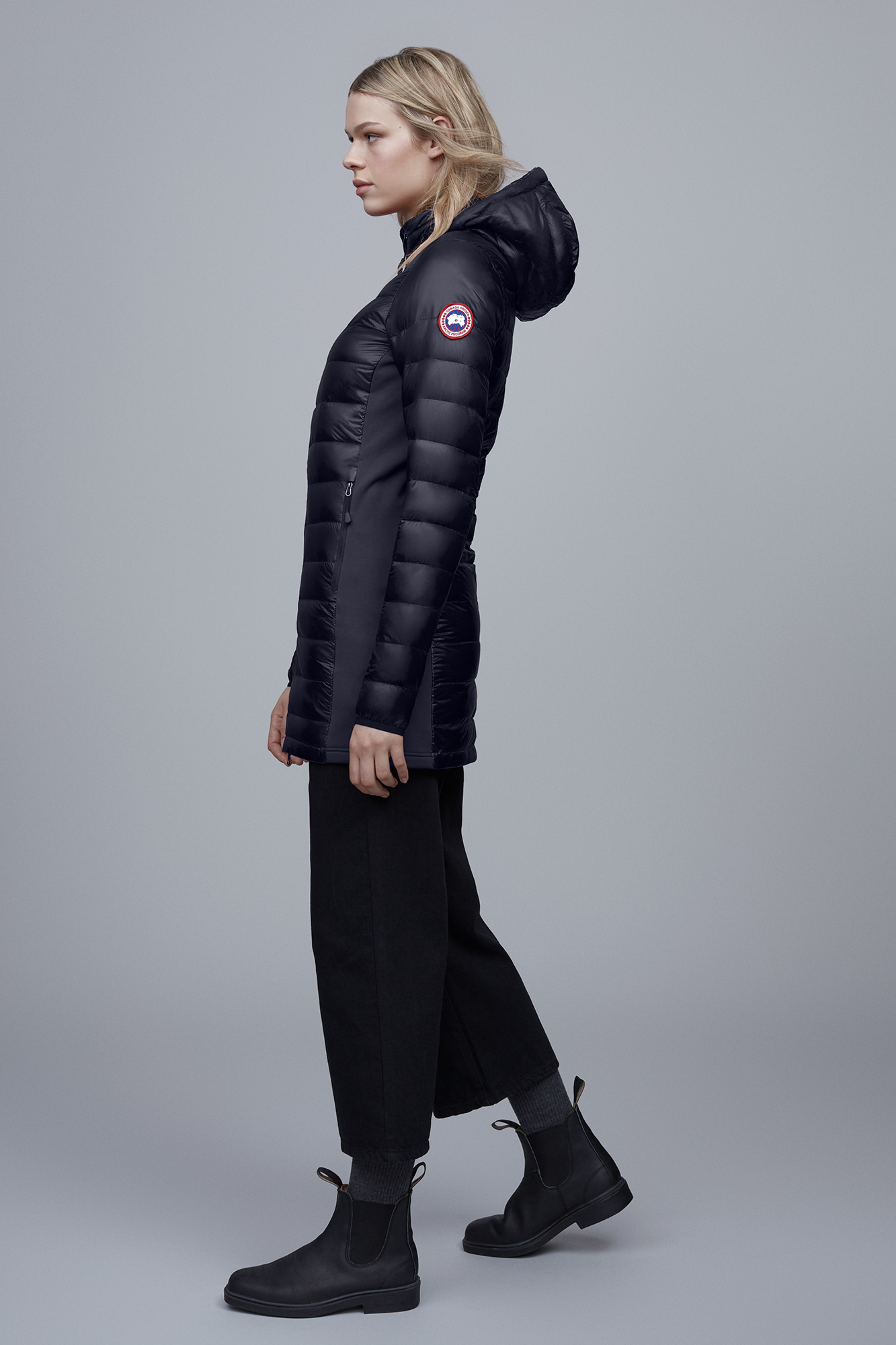 Canada Goose Hybridge Lite hooded quilted shell down coat Women's Black