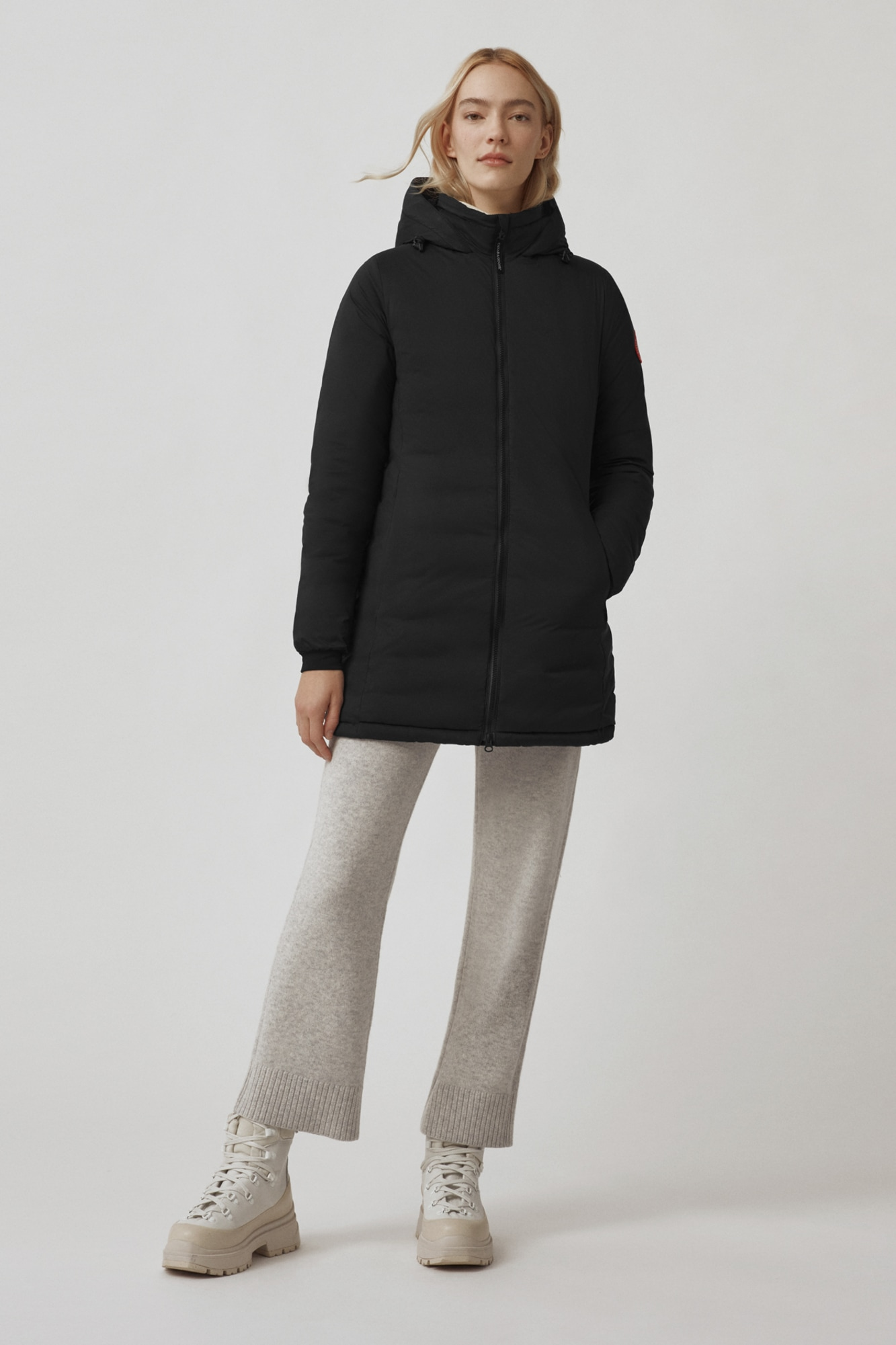 White Camp Down Hooded jacket Womens Canada Goose outlet