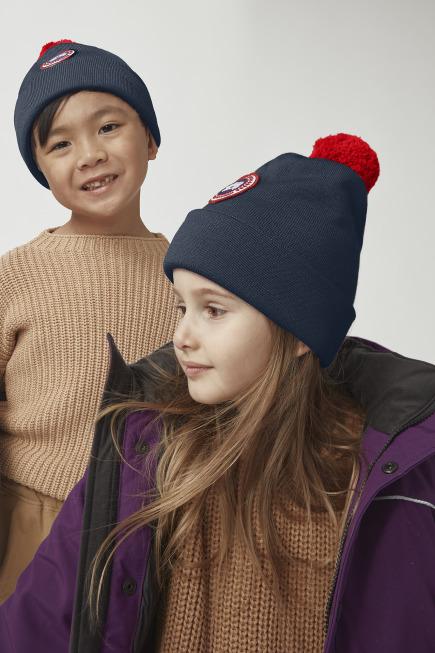 Tuque à pompon en laine mérinos pour enfants