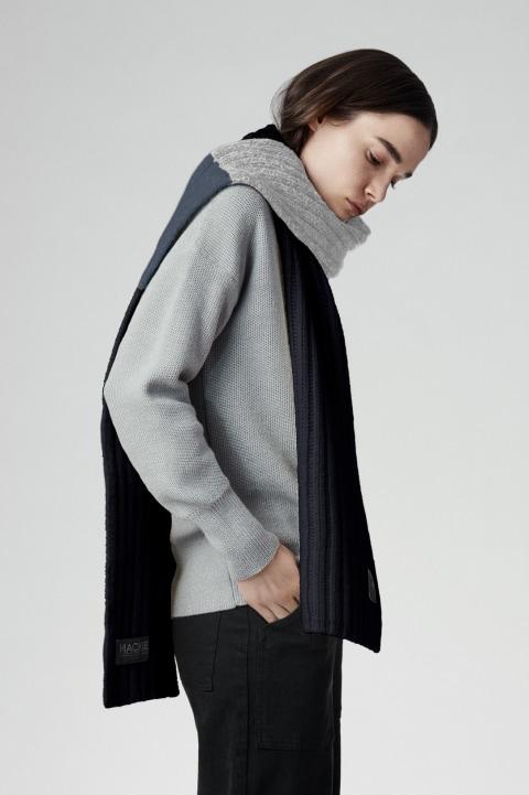 Écharpe noire en tricot côtelé | Canada Goose