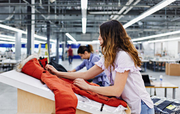 Employee in the Canada Goose production facility